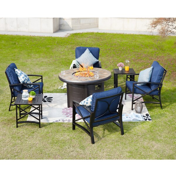 Zachariah 7 Piece Multiple Chairs Seating Group with Cushions by Longshore Tides Longshore Tides