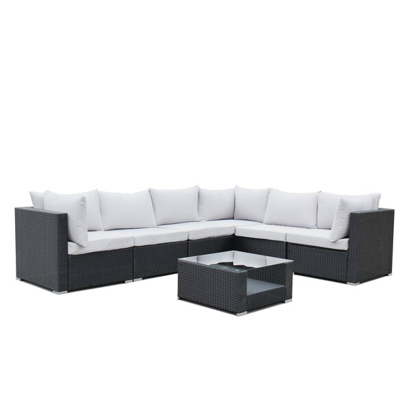 Lecroy 7 Piece Rattan Sectional Set with Cushions by Wrought Studio