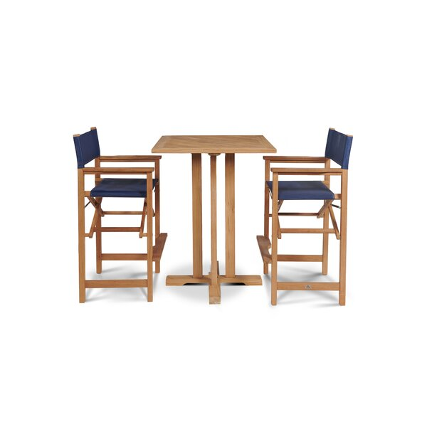 Criner 3 Piece Teak Bar Height Dining Set by Rosecliff Heights