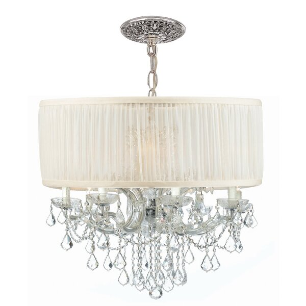 Corrinne 12 - Light Shaded Drum Chandelier with Crystal Accents by Rosdorf Park Rosdorf Park