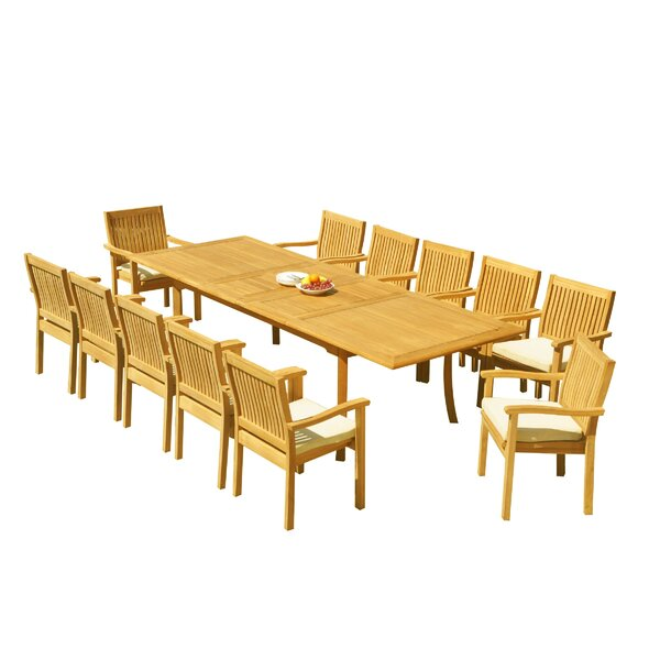 Mashburn 13 Piece Teak Dining Set by Rosecliff Heights