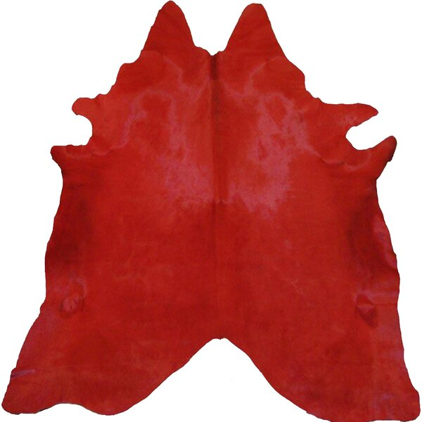 Dyed Hand Woven Cowhide Red Area Rug by Pergamino