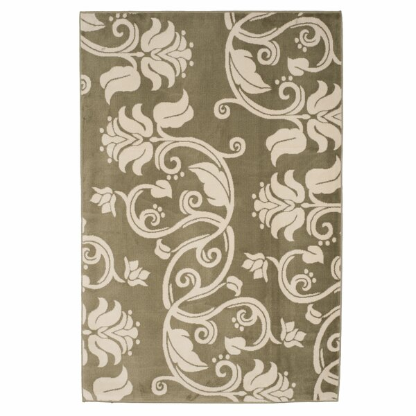 Floral Scroll Green & Ivory Area Rug by Lavish Home