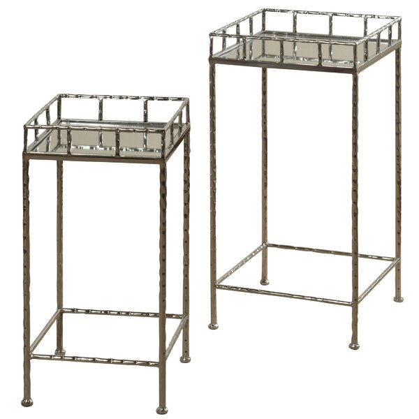 Downey Mirror Top 2 Piece Nesting Tables by Ebern Designs Ebern Designs