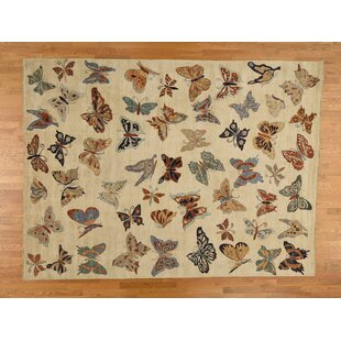 Inexpensive One-of-a-Kind Ischua Design Hand-Knotted 9' x 12' Wool Beige/Black/Orange Area Rug By Isabelline