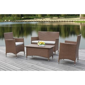 Taylortown Outdoor 4 Piece Deep Seating Group with Cushions Breakwater Bay