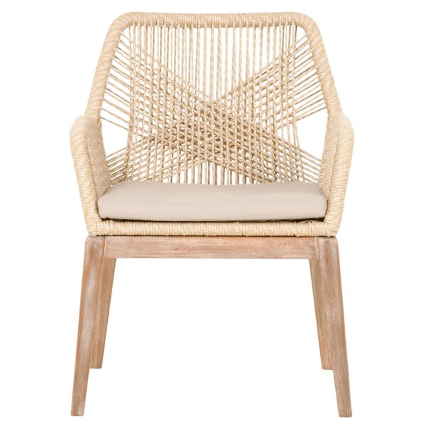 Arnone Rope Weave Solid Wood Cross Back Arm Chair (Set of 2) by Bungalow Rose Bungalow Rose