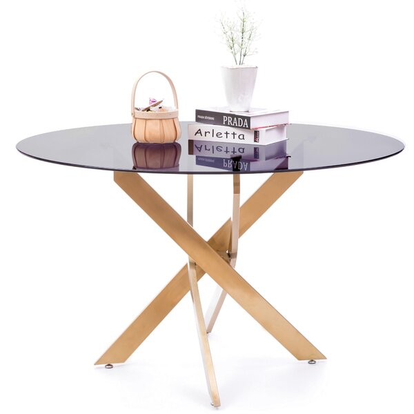 Round Smoked Glass Gold Stainless Steel Metal Modern Dining Table by Everly Quinn Everly Quinn