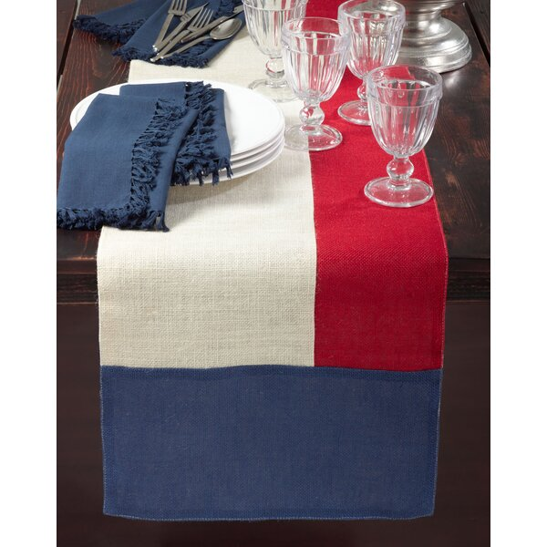 American Design Block Design Jute Table Runner by Saro