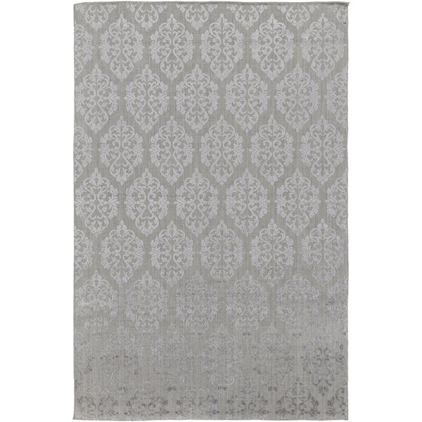 Anwen Hand-Knotted Gray Area Rug by Ophelia & Co.