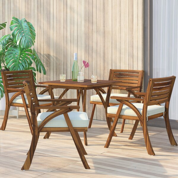 Ajax 5 Piece Teak Dining Set with Cushions by Mercury Row