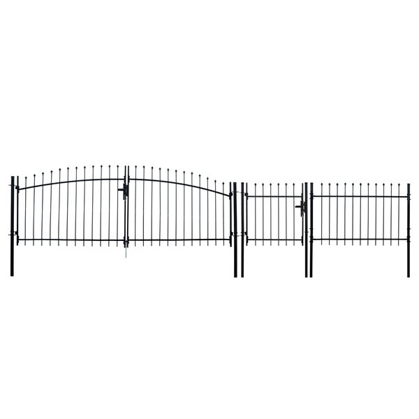 ALEKO DIY Steel Dual Swing Driveway Gate Kit - ATHENS Style - 11 x 5 Feet with Pedestrian Gate - 3 x 5 Feet by ALEKO