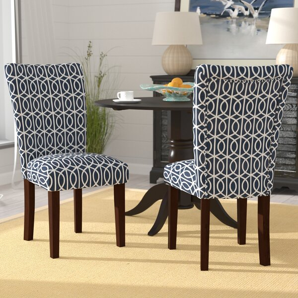 Zariyah Parsons Trellis Upholstered Dining Chair (Set of 2) by Breakwater Bay