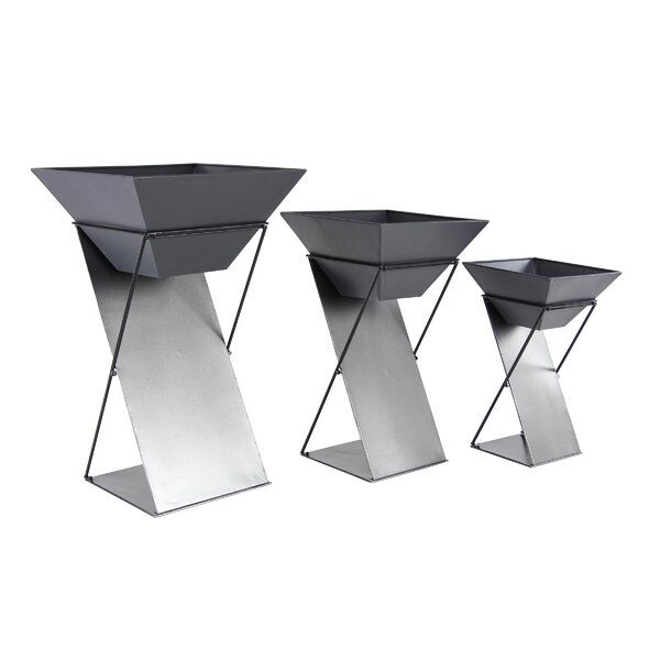 Escarcega Modern 3-Piece Metal Pot Planter Set by Orren Ellis