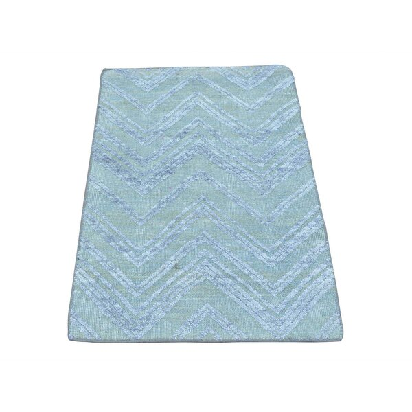 One-of-a-Kind Ellerbe Zig Zag Oriental Hand-Knotted Silk Blue Area Rug by World Menagerie