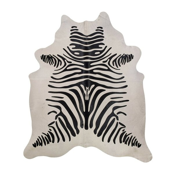 Zebra Cowhide Black/White Area Rug by Saddlemans