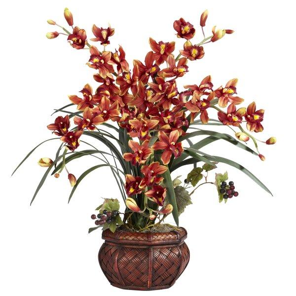 Silk Cymbidium in Decorative Vase by World Menagerie