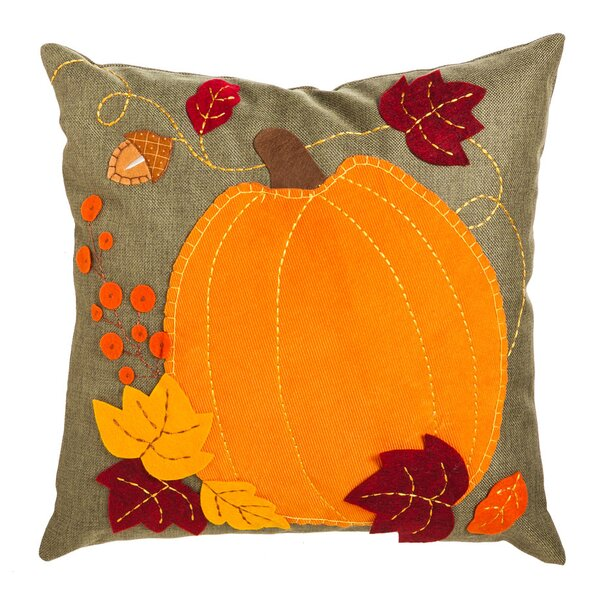 Pumpkin And Leaves Indoor/Outdoor Throw Pillow by The Holiday Aisle