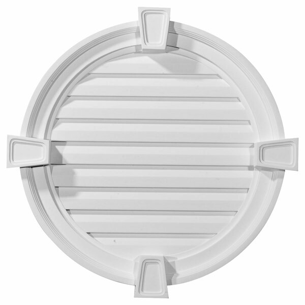 22H x 22W x 2 1/8D Round Gable Vent with Keystones by Ekena Millwork