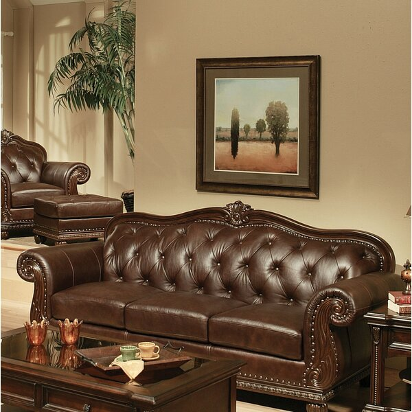 Luxury Brands Wentz Leather Sofa by Astoria Grand by Astoria Grand