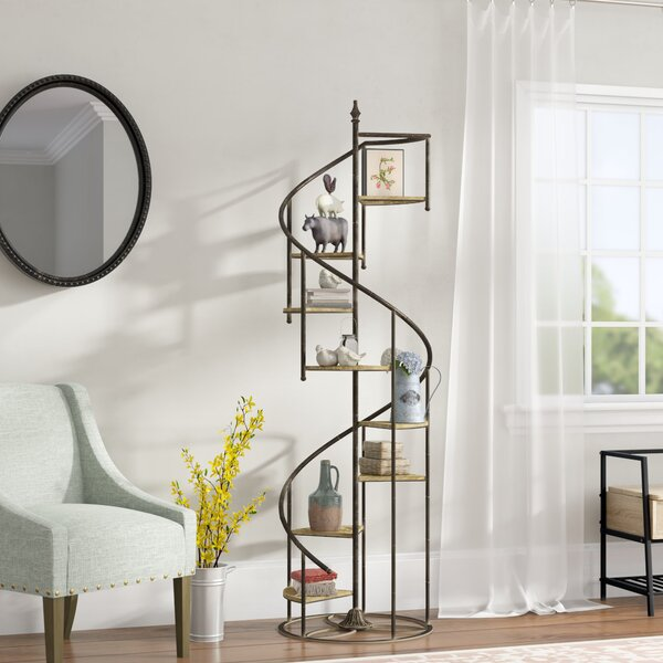 Shauna Spiral Staircase Geometric Bookcase By Laurel Foundry Modern Farmhouse