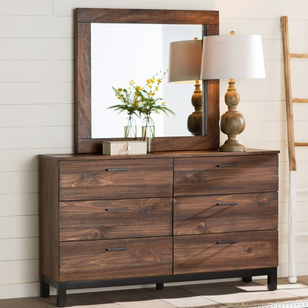 Jaiden 6 Drawer Double Dresser with Mirror by Laurel Foundry Modern Farmhouse
