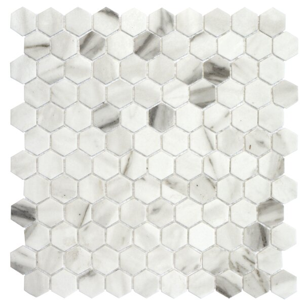 Onix 1 x 1 Glass Mosaic Tile in Calacatta Malla by Madrid Ceramics