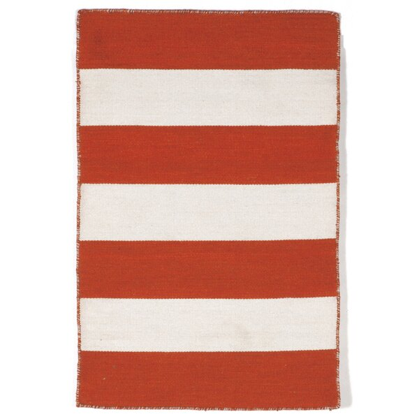 Ranier Stripe Hand-Woven Paprika Orange/Ivory Indoor/Outdoor Area Rug by Beachcrest Home