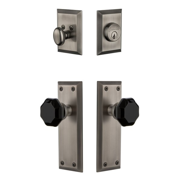 5th Avenue Plate Single Cylinder Knob Combo Pack with Lyon Knob and matching Deadbolt by Grandeur