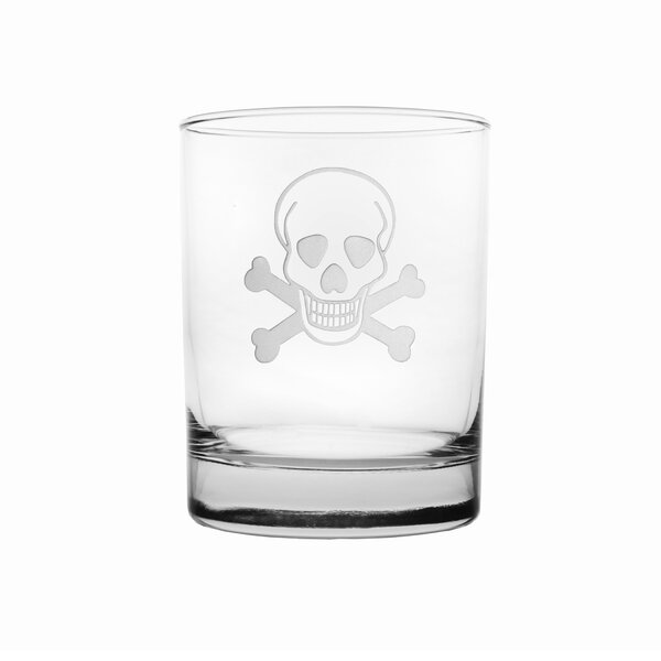 Skull and Cross Bones 14 oz. Double Old Fashioned (Set of 4) by Rolf Glass