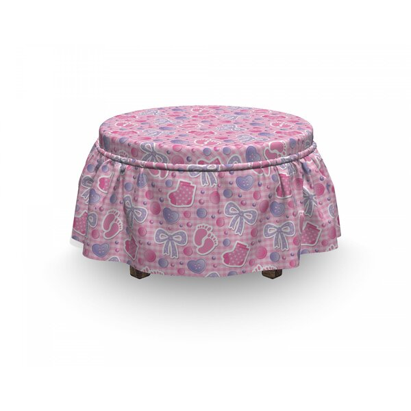 Baby Bows And Buttons Ribbon 2 Piece Box Cushion Ottoman Slipcover Set By East Urban Home