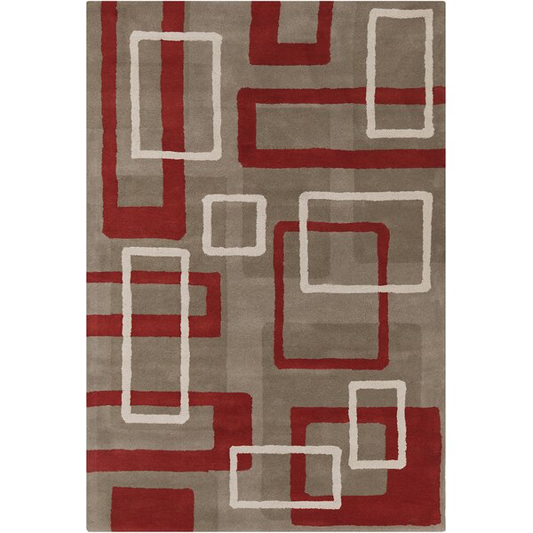 Oritz Hand Tufted Wool Light Taupe/Rusty Red Area Rug by Brayden Studio