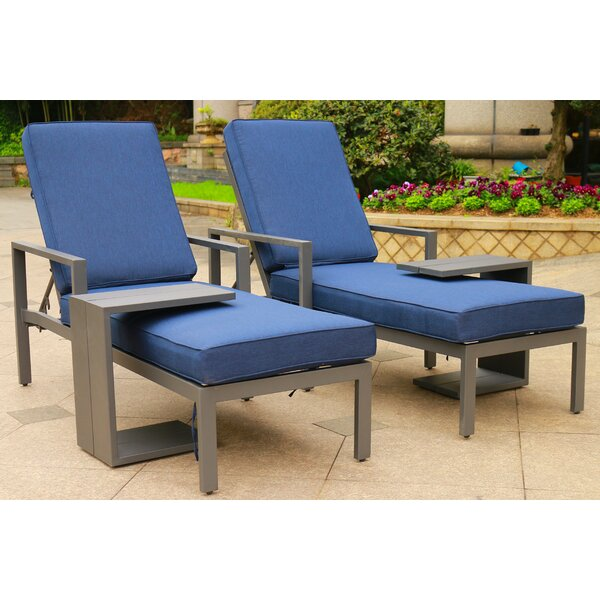 Hearne Outdoor Synthetic Adjustable Sun Lounger Set with Cushions and Table (Set of 2) by Orren Ellis