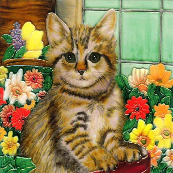 Cat in A Basket Tile Wall Decor by Continental Art Center