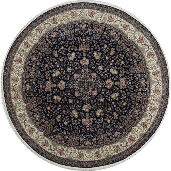 Round Oriental Hand-Knotted Wool Navy/Ivory Area Rug