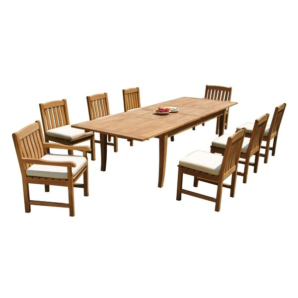 Quintin 9 Piece Teak Dining Set by Rosecliff Heights
