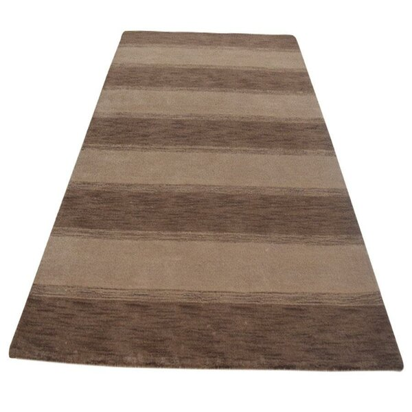 Mariaella Loom Hand-Knotted Wool Light Brown/Cream Area Rug by World Menagerie