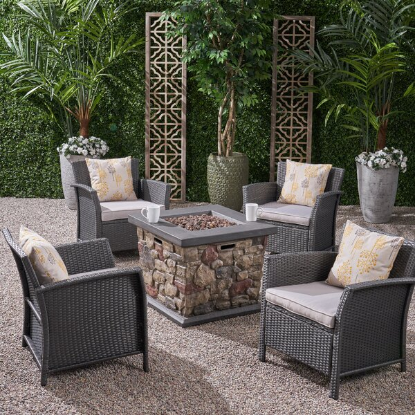 Peavy 5 Piece Multiple Chairs Seating Group with Cushions by Alcott Hill