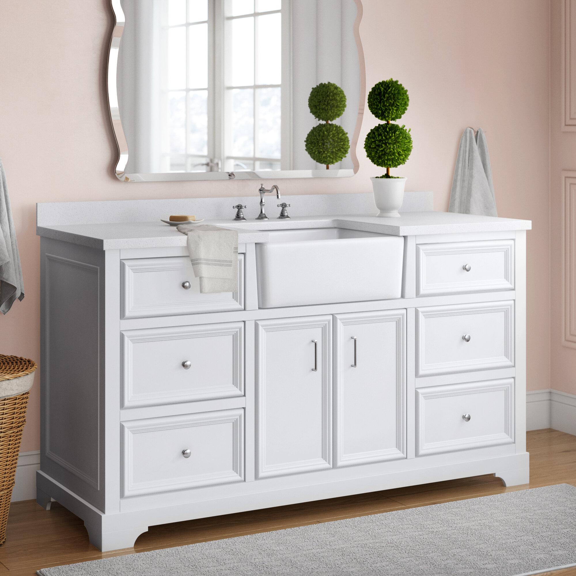 Coastal Farmhouse Emiliano 60 Single Bathroom Vanity Set Reviews Wayfair