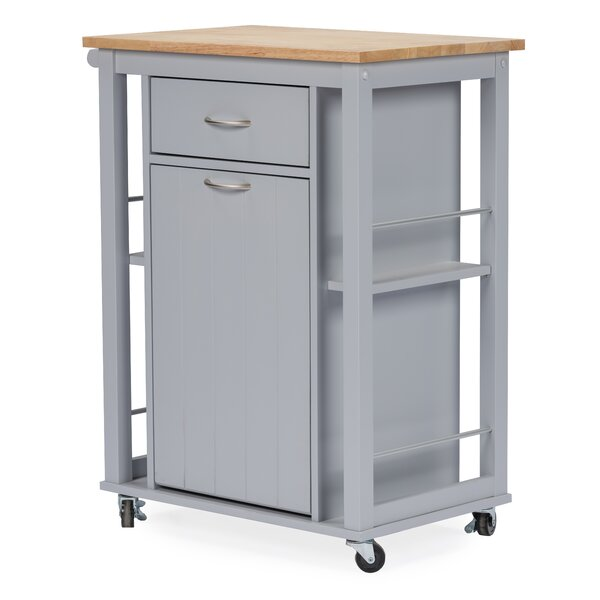 Delmi Kitchen Cart with WoodenTop by Highland Dunes
