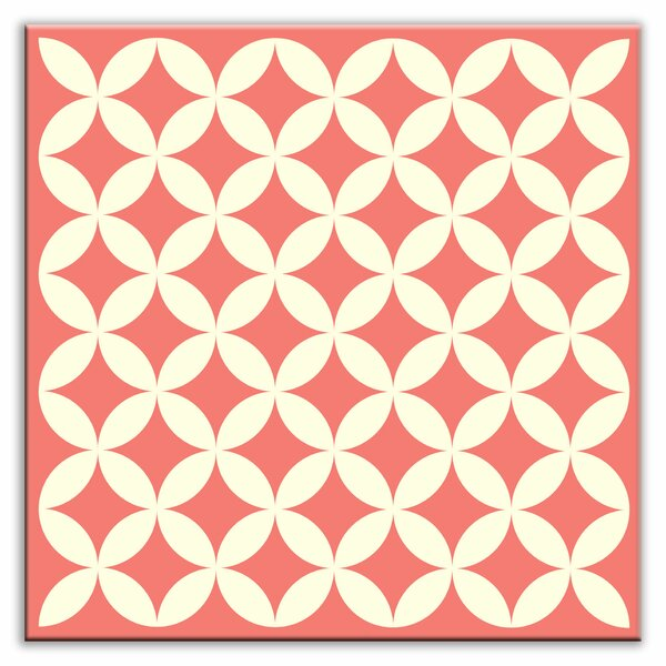 Folksy Love 4-1/4 x 4-1/4 Satin Decorative Tile in Needle Point Pink by Oscar & Izzy