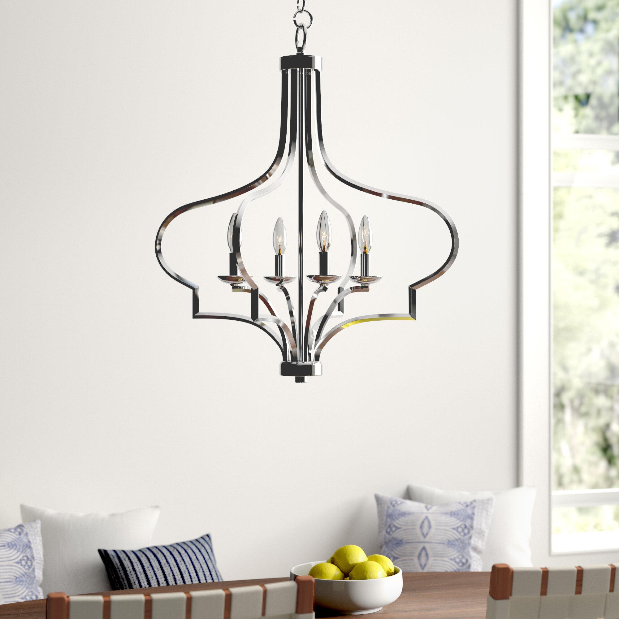 Mistana Soussi 4 Light Lantern Geometric Chandelier Reviews Wayfair