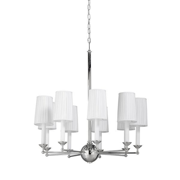 9 - Light Shaded Wagon Wheel Chandelier by Frederick Cooper Frederick Cooper