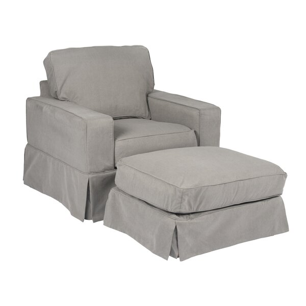 Glenhill Box Cushion Armchair and Ottoman Slipcover