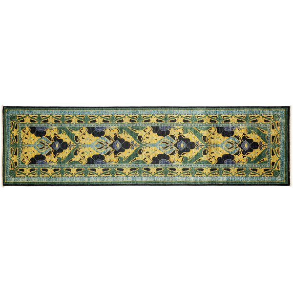 One-of-a-Kind Arts and Crafts Hand-Knotted Black/Green Area Rug by Darya Rugs