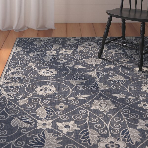 Julia Garden Maze Blue Indoor/Outdoor Area Rug by August Grove