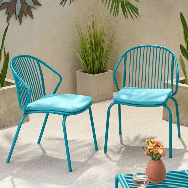 Corbeil Outdoor Modern Club Patio Chair with Cushions (Set of 2) by Ebern Designs Ebern Designs