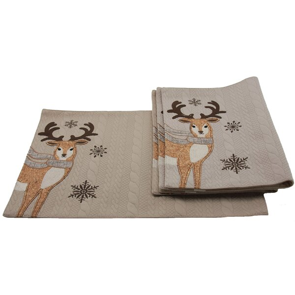 Cozy Reindeer Placemat (Set of 4) by Manor Luxe