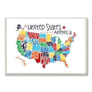 'USA Map' Textual Art Wall Plaque by Harriet Bee