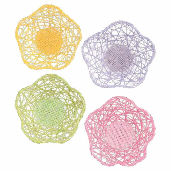 Paper Raffia Flower Table Fruit Basket (Set of 12) by Boston International